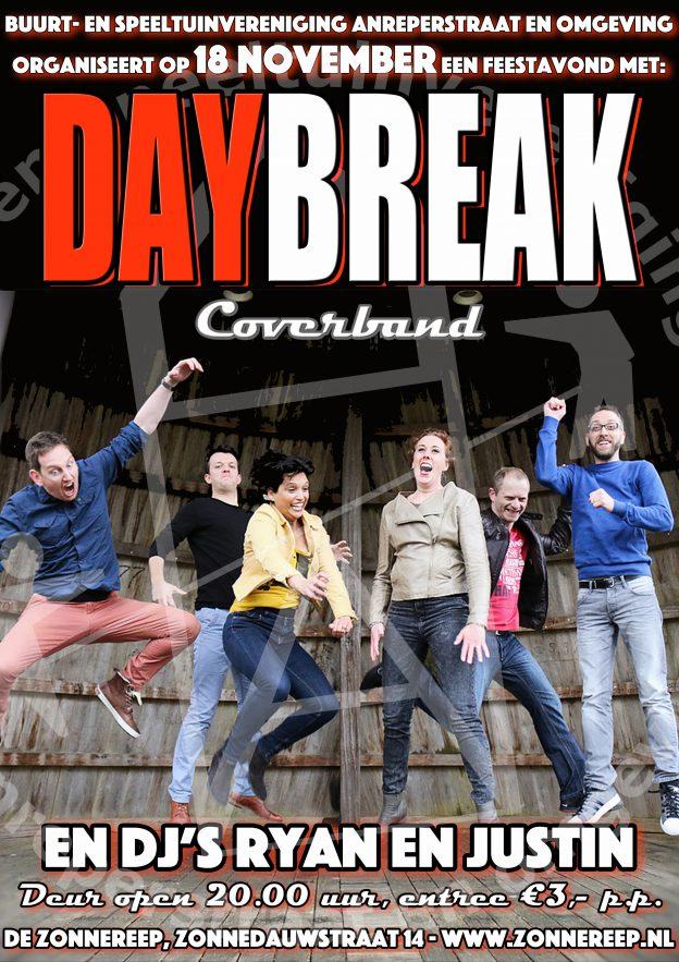 Feestavond met band Daybreak zaterdag 18 november!